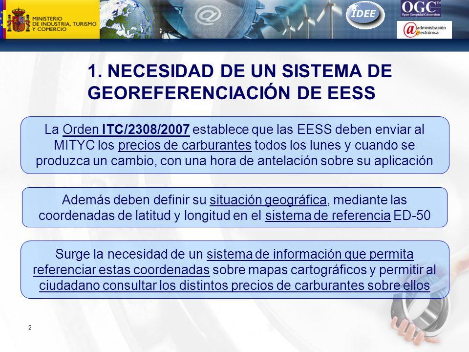 Subdirección General de Tecnologías de la Información y de las Comunicaciones 1. NECESIDAD DE UN SISTEMA DE GEOREFERENCIACIÓN DE EESS 2 La Orden ITC/2