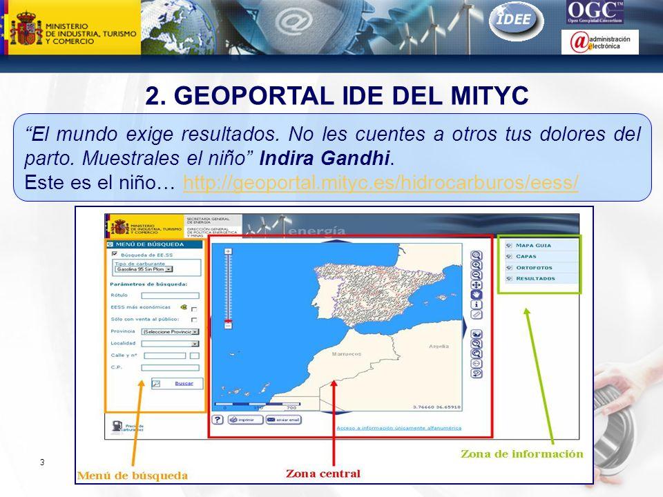 Subdirección General de Tecnologías de la Información y de las Comunicaciones 3 2. GEOPORTAL IDE DEL MITYC El mundo exige resultados. No les cuentes a