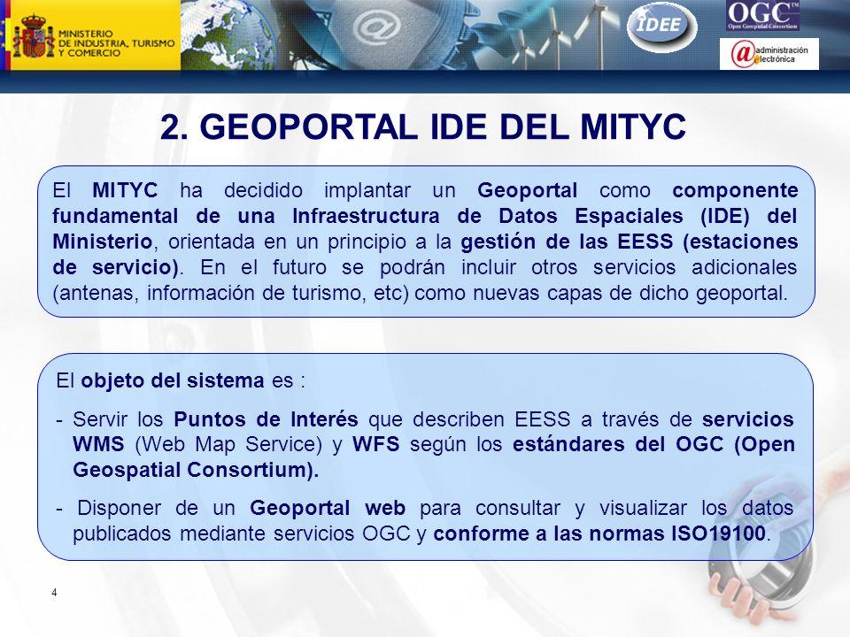 Subdirección General de Tecnologías de la Información y de las Comunicaciones 2. GEOPORTAL IDE DEL MITYC 4 El MITYC ha decidido implantar un Geoportal