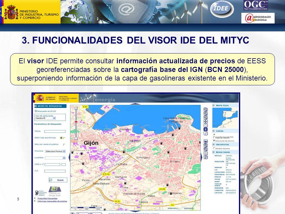 Subdirección General de Tecnologías de la Información y de las Comunicaciones 5 El visor IDE permite consultar información actualizada de precios de E