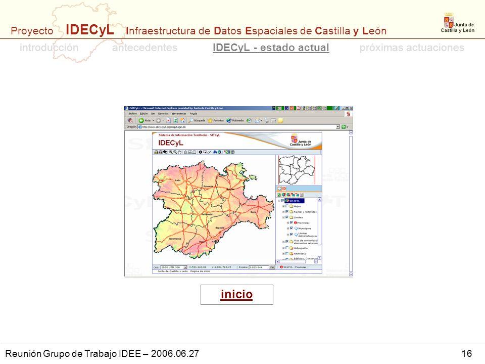 Proyecto IDECyL Infraestructura de Datos Espaciales de Castilla y León Reunión Grupo de Trabajo IDEE – 2006.06.2716 introducciónpróximas actuacionesan