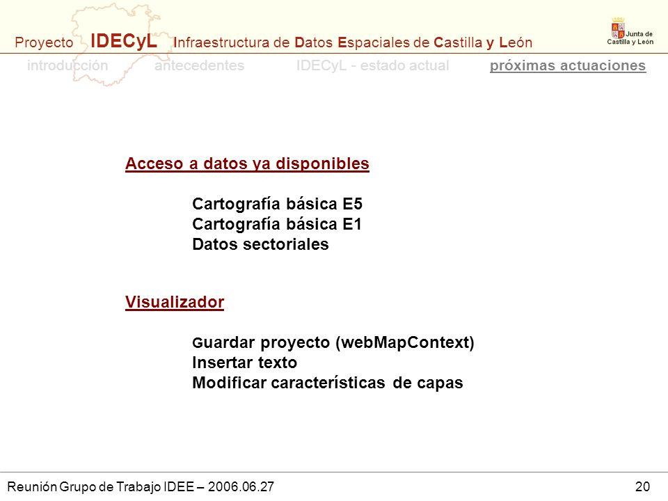 Proyecto IDECyL Infraestructura de Datos Espaciales de Castilla y León Reunión Grupo de Trabajo IDEE – 2006.06.2720 Acceso a datos ya disponibles Cart