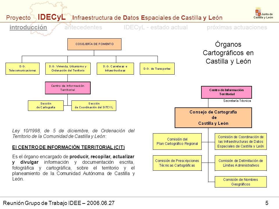 Proyecto IDECyL Infraestructura de Datos Espaciales de Castilla y León Reunión Grupo de Trabajo IDEE – 2006.06.275 Ley 10/1998, de 5 de diciembre, de