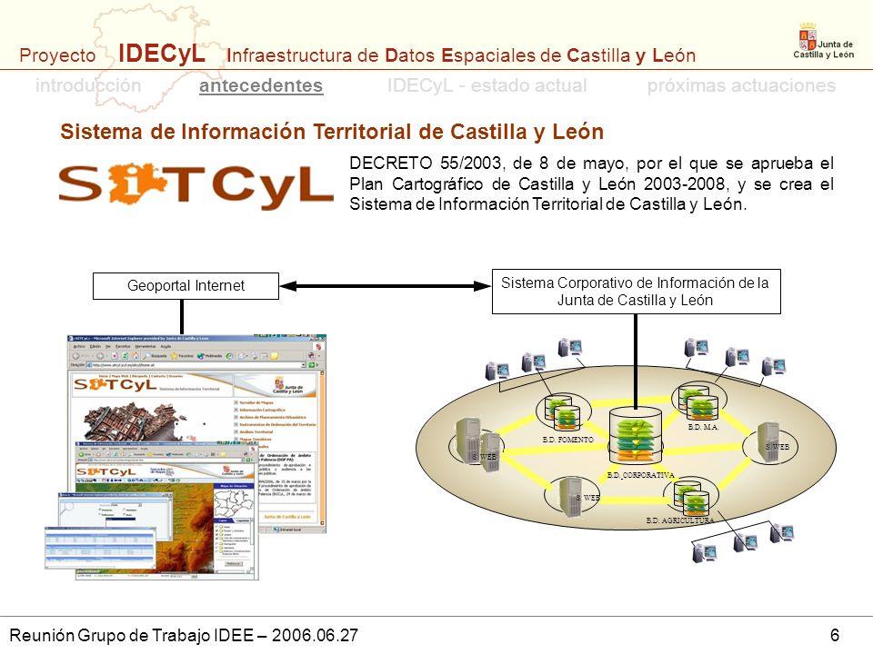 Proyecto IDECyL Infraestructura de Datos Espaciales de Castilla y León Reunión Grupo de Trabajo IDEE – 2006.06.276 Sistema de Información Territorial