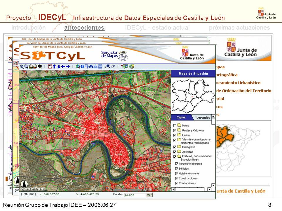 Proyecto IDECyL Infraestructura de Datos Espaciales de Castilla y León Reunión Grupo de Trabajo IDEE – 2006.06.278 introducciónantecedentespróximas ac