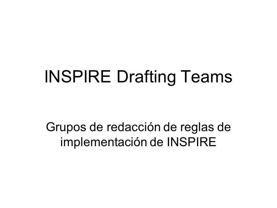 INSPIRE Drafting Teams Grupos de redacción de reglas de implementación de INSPIRE