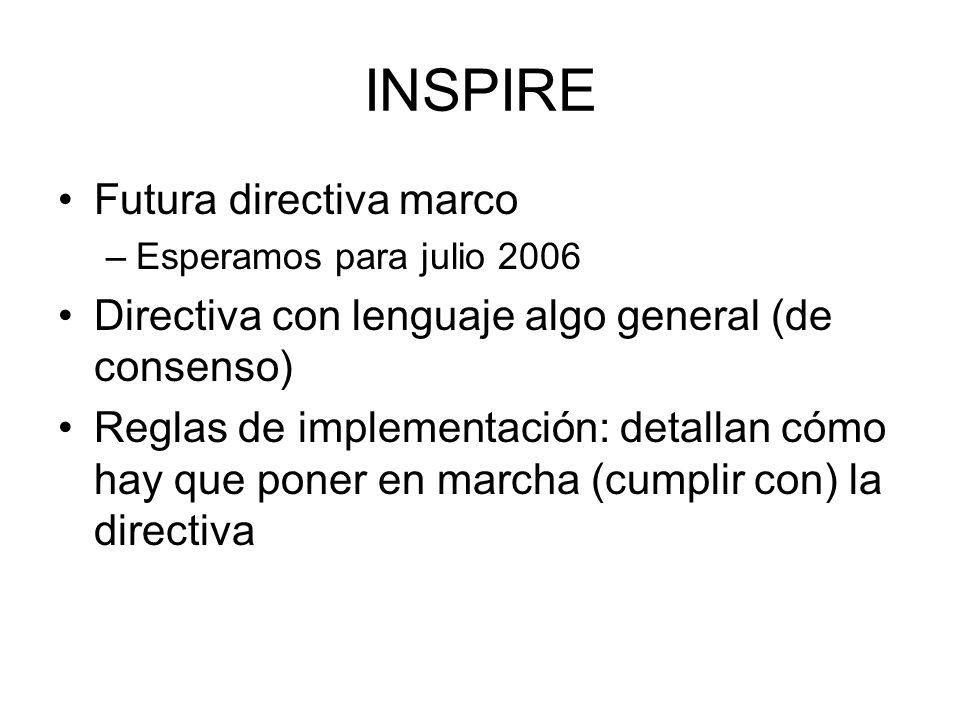 INSPIRE Futura directiva marco –Esperamos para julio 2006 Directiva con lenguaje algo general (de consenso) Reglas de implementación: detallan cómo ha