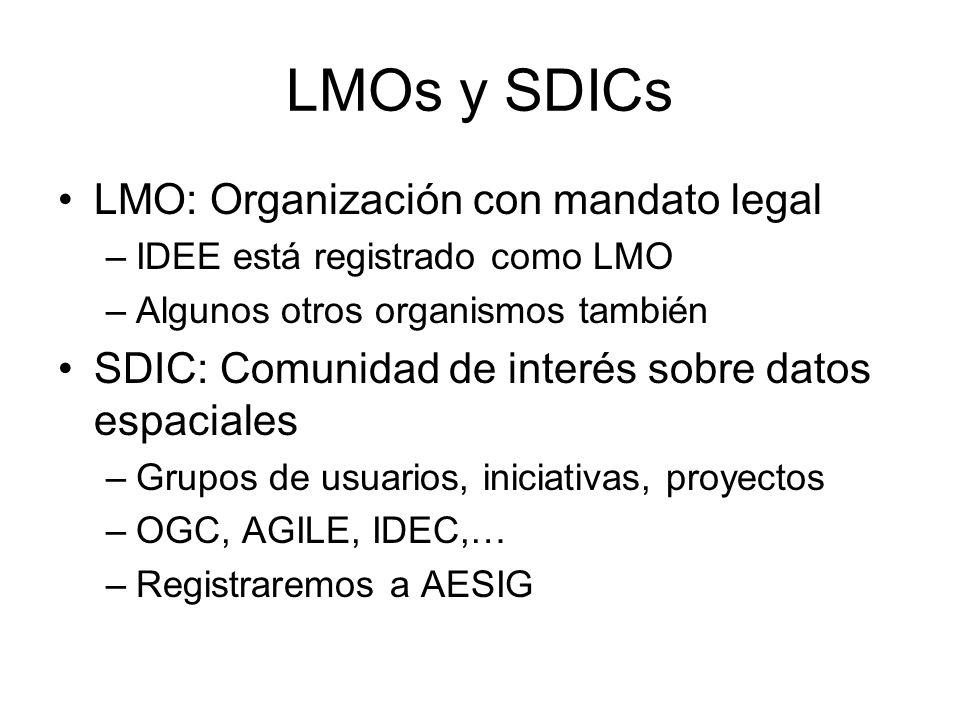 LMOs y SDICs LMO: Organización con mandato legal –IDEE está registrado como LMO –Algunos otros organismos también SDIC: Comunidad de interés sobre datos espaciales –Grupos de usuarios, iniciativas, proyectos –OGC, AGILE, IDEC,… –Registraremos a AESIG