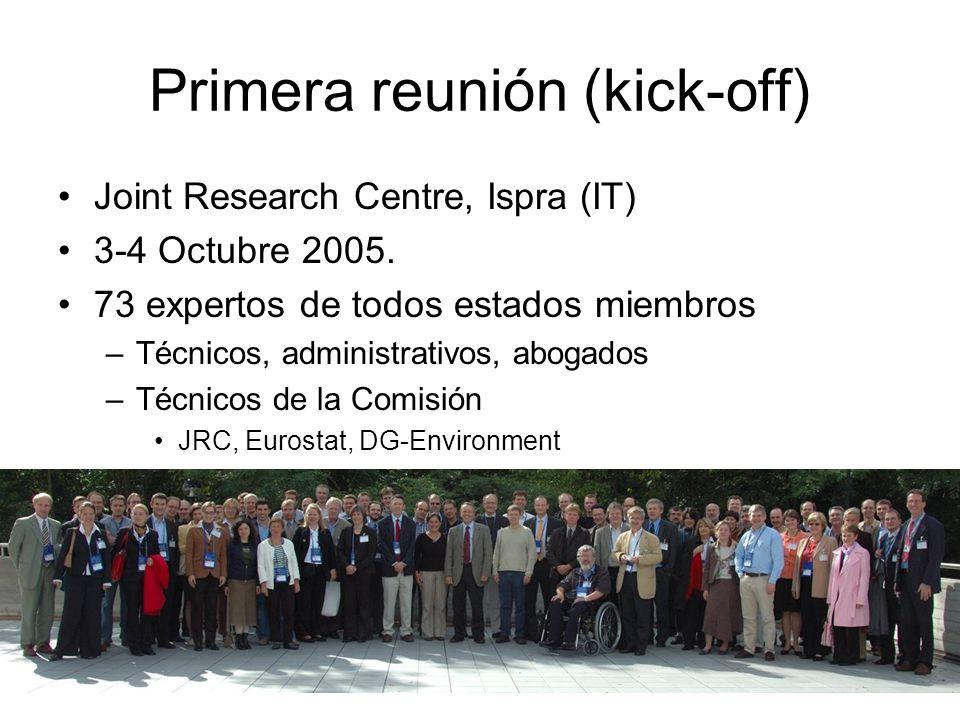 Primera reunión (kick-off) Joint Research Centre, Ispra (IT) 3-4 Octubre 2005. 73 expertos de todos estados miembros –Técnicos, administrativos, aboga
