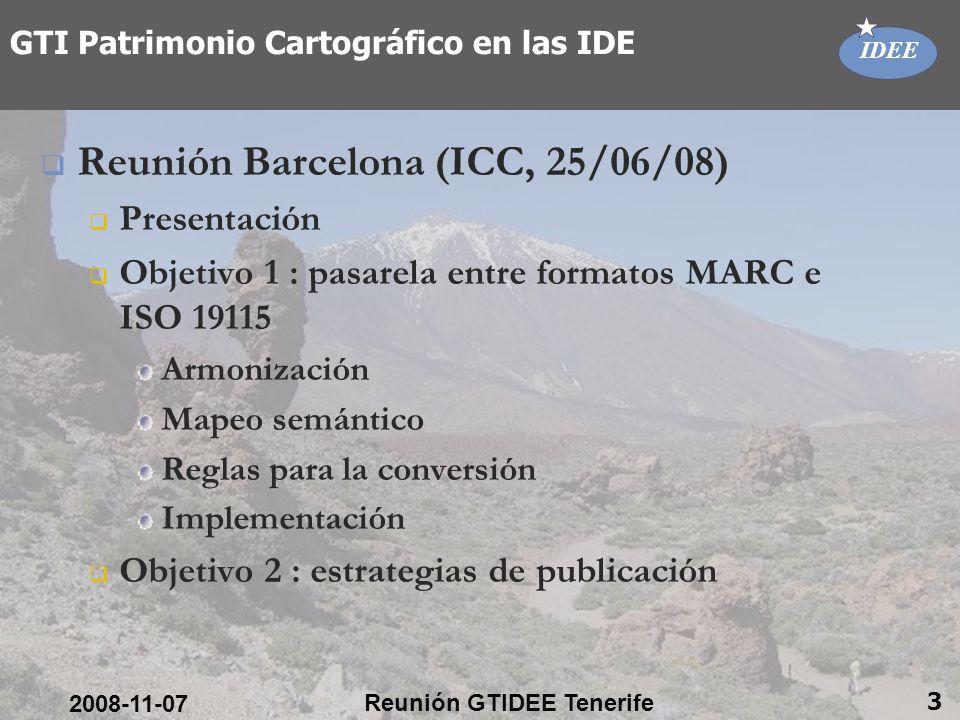 IDEE 2008-11-07 Reunión GTIDEE Tenerife 4 GTI Patrimonio Cartográfico en las IDE
