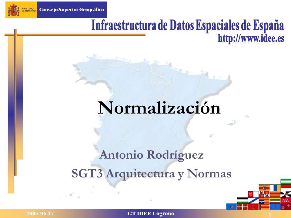 2005-06-17GT IDEE Logroño Consejo Superior Geográfico 1 Antonio Rodríguez SGT3 Arquitectura y Normas Normalización