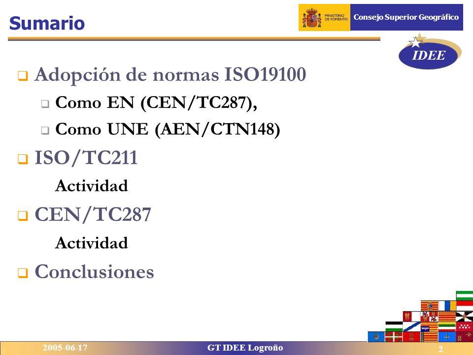 IDEE 2005-06-17GT IDEE Logroño Consejo Superior Geográfico 2 Adopción de normas ISO19100 Como EN (CEN/TC287), Como UNE (AEN/CTN148) ISO/TC211 Activida