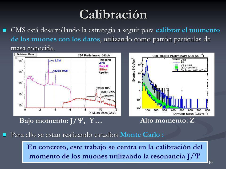 10Calibración, utilizando como patrón partículas de masa conocida. CMS está desarrollando la estrategia a seguir para calibrar el momento de los muone