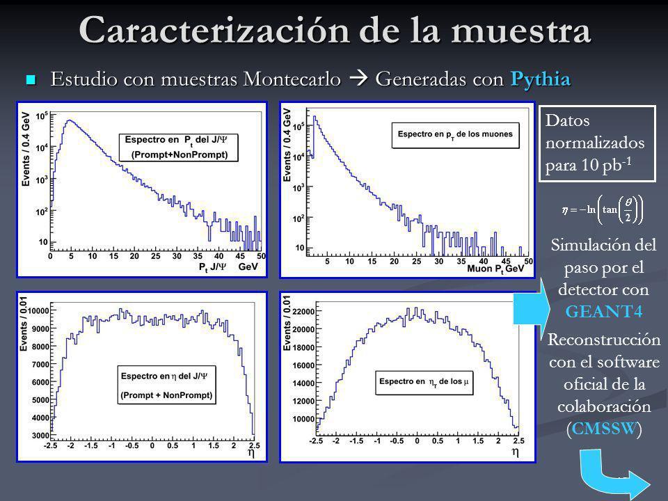 13 Caracterización de la muestra Estudio con muestras Montecarlo Generadas con Pythia Estudio con muestras Montecarlo Generadas con Pythia Simulación