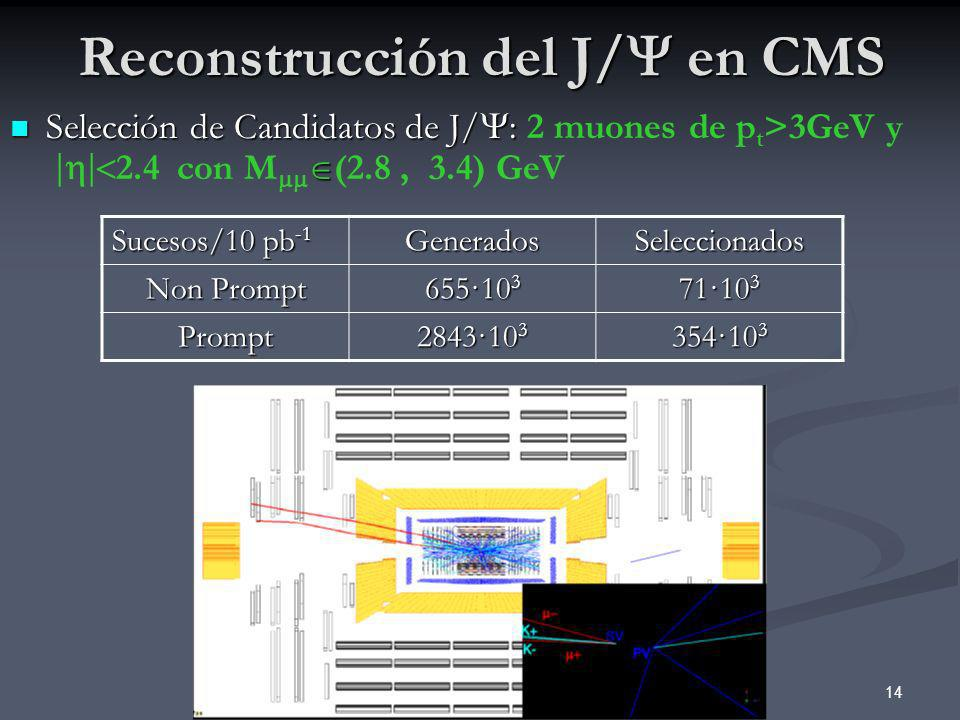 14 Reconstrucción del J/ en CMS Selección de Candidatos de J/ : Selección de Candidatos de J/ : 2 muones de p t >3GeV y 2.4 con M (2.8, 3.4) GeV Suces