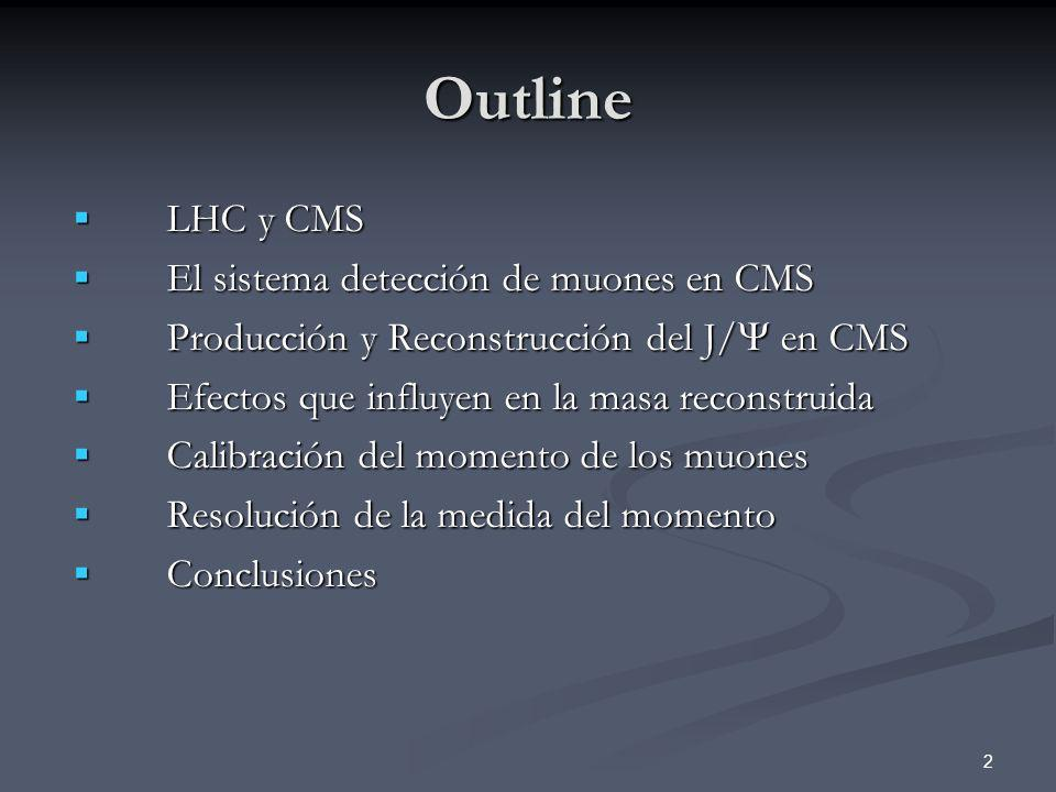 2 Outline LHC y CMS LHC y CMS El sistema detección de muones en CMS El sistema detección de muones en CMS Producción y Reconstrucción del J/ en CMS Pr