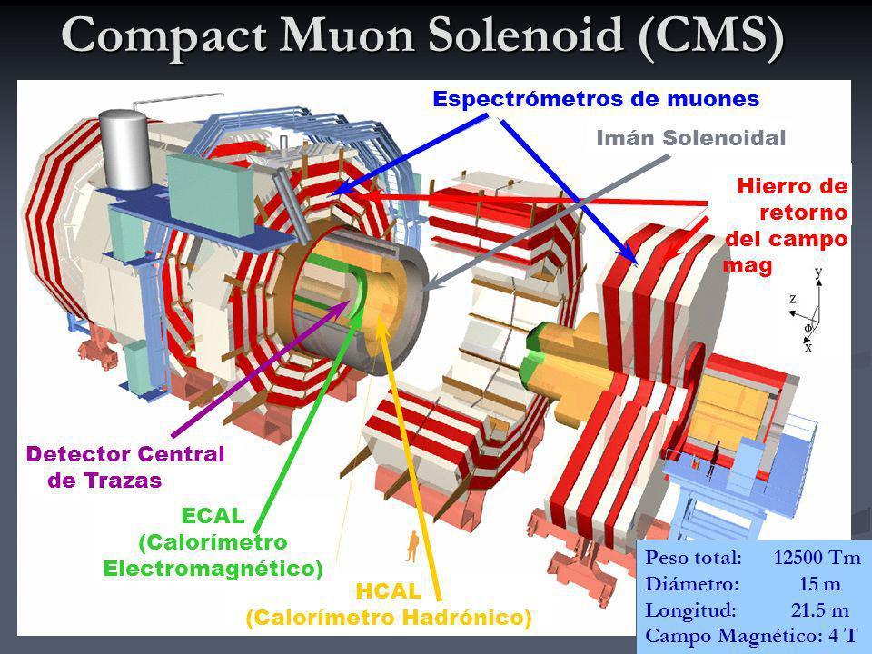 4 Compact Muon Solenoid (CMS) (4 T) Detector Central de Trazas HCAL (Calorímetro Hadrónico) ECAL (Calorímetro Electromagnético) Hierro de retorno del