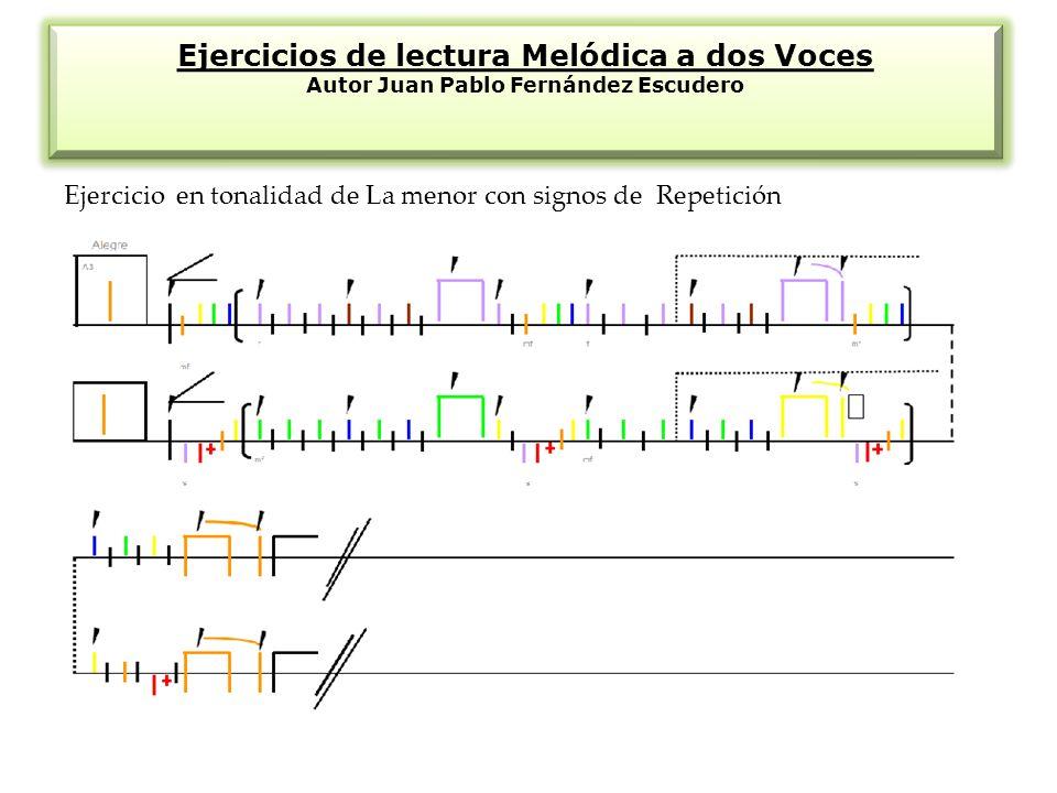 Ejercicios de lectura Melódica a dos Voces Autor Juan Pablo Fernández Escudero Ejercicio en tonalidad de La menor con signos de Repetición