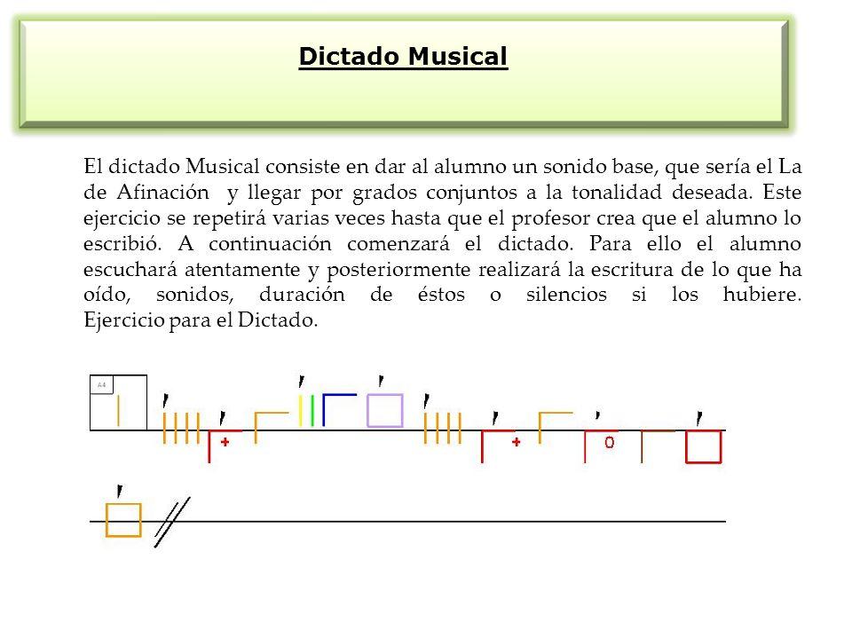 Dictado Musical El dictado Musical consiste en dar al alumno un sonido base, que sería el La de Afinación y llegar por grados conjuntos a la tonalidad