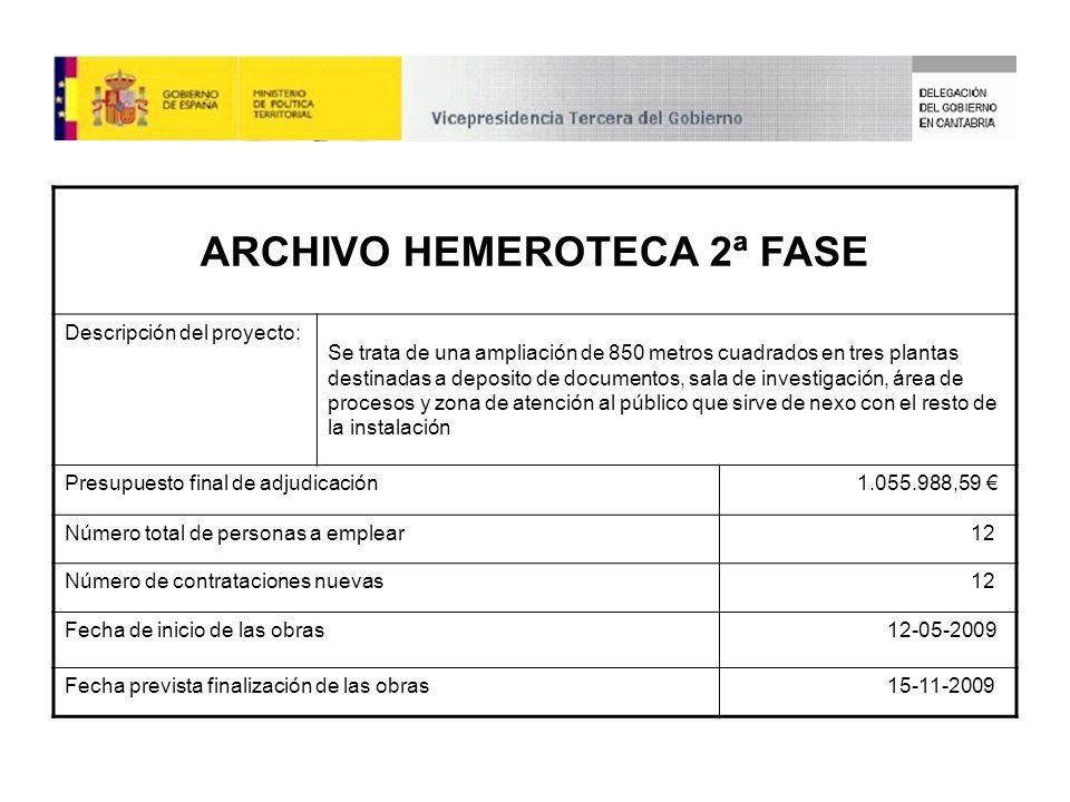 ARCHIVO HEMEROTECA 2ª FASE Descripción del proyecto: Se trata de una ampliación de 850 metros cuadrados en tres plantas destinadas a deposito de documentos, sala de investigación, área de procesos y zona de atención al público que sirve de nexo con el resto de la instalación Presupuesto final de adjudicación1.055.988,59 Número total de personas a emplear12 Número de contrataciones nuevas12 Fecha de inicio de las obras12-05-2009 Fecha prevista finalización de las obras15-11-2009