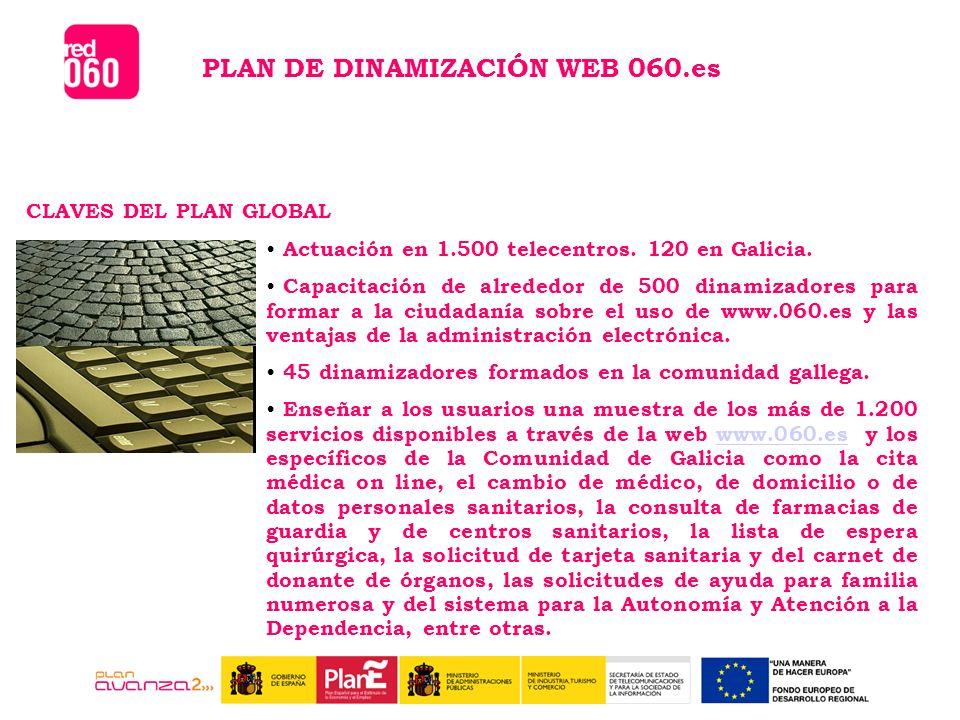 CLAVES DEL PLAN GLOBAL PLAN DE DINAMIZACIÓN WEB 060.es Actuación en 1.500 telecentros.