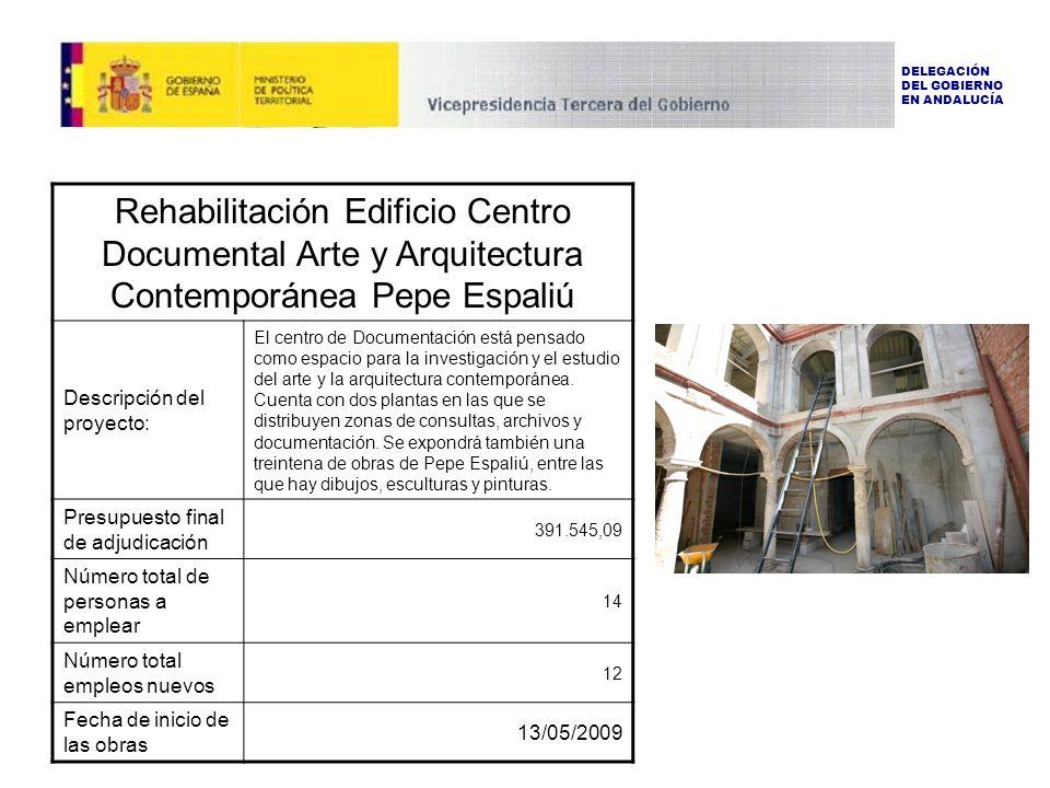 Rehabilitación Edificio Centro Documental Arte y Arquitectura Contemporánea Pepe Espaliú Descripción del proyecto: El centro de Documentación está pensado como espacio para la investigación y el estudio del arte y la arquitectura contemporánea.