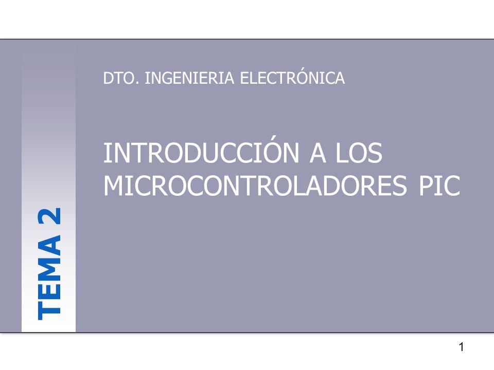 1 INTRODUCCIÓN A LOS MICROCONTROLADORES PIC DTO. INGENIERIA ELECTRÓNICA TEMA 2