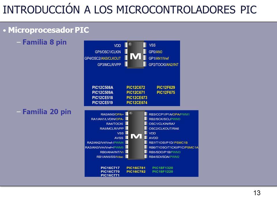 13 INTRODUCCIÓN A LOS MICROCONTROLADORES PIC Microprocesador PIC – Familia 8 pin – Familia 20 pin