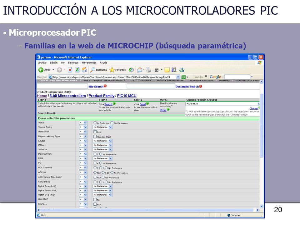 20 INTRODUCCIÓN A LOS MICROCONTROLADORES PIC Microprocesador PIC – Familias en la web de MICROCHIP (búsqueda paramétrica)