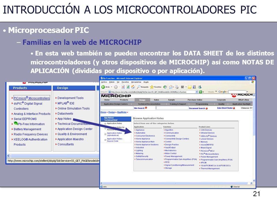 21 INTRODUCCIÓN A LOS MICROCONTROLADORES PIC Microprocesador PIC – Familias en la web de MICROCHIP En esta web también se pueden encontrar los DATA SH