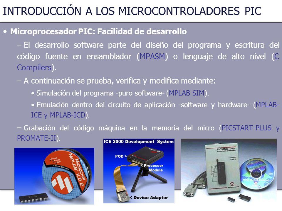 23 INTRODUCCIÓN A LOS MICROCONTROLADORES PIC Microprocesador PIC: Facilidad de desarrollo – El desarrollo software parte del diseño del programa y esc