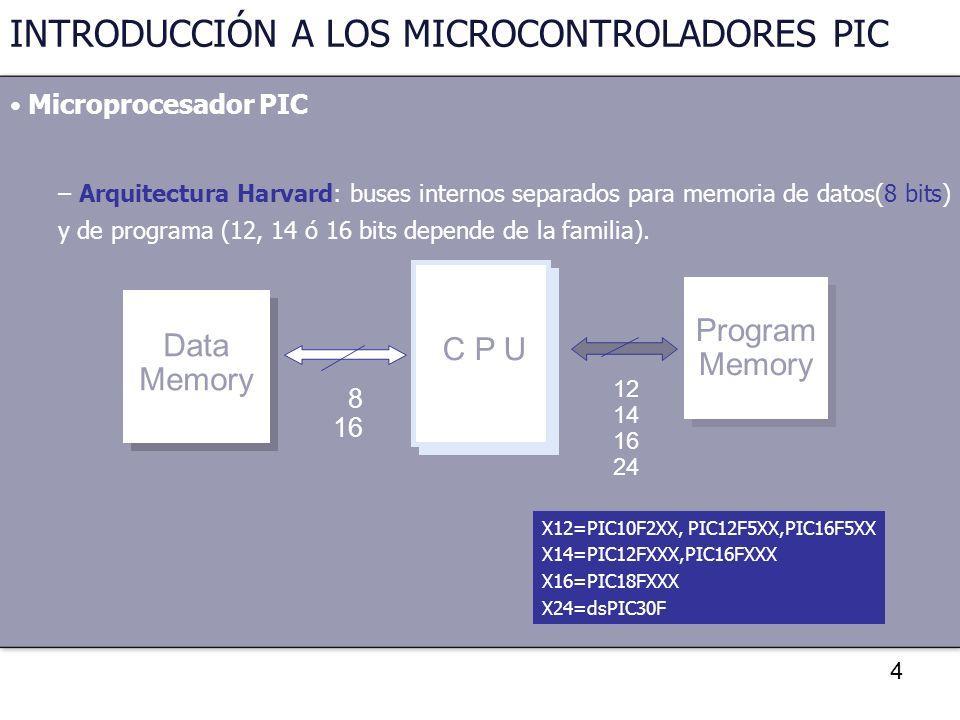 4 INTRODUCCIÓN A LOS MICROCONTROLADORES PIC Microprocesador PIC – Arquitectura Harvard: buses internos separados para memoria de datos(8 bits) y de pr