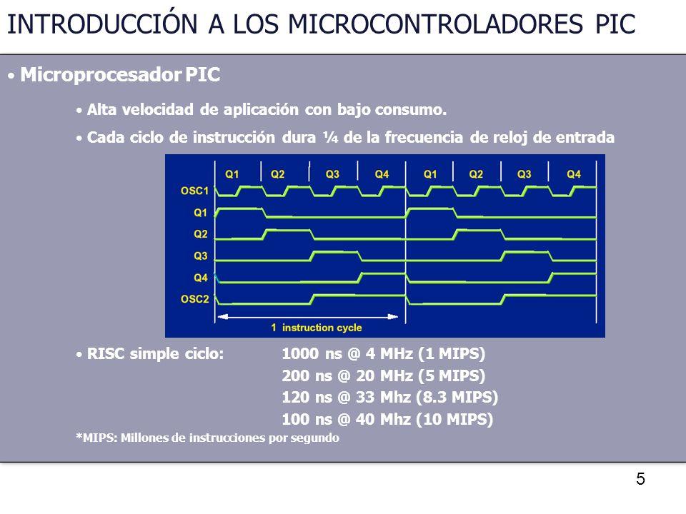 5 INTRODUCCIÓN A LOS MICROCONTROLADORES PIC Microprocesador PIC Alta velocidad de aplicación con bajo consumo. Cada ciclo de instrucción dura ¼ de la