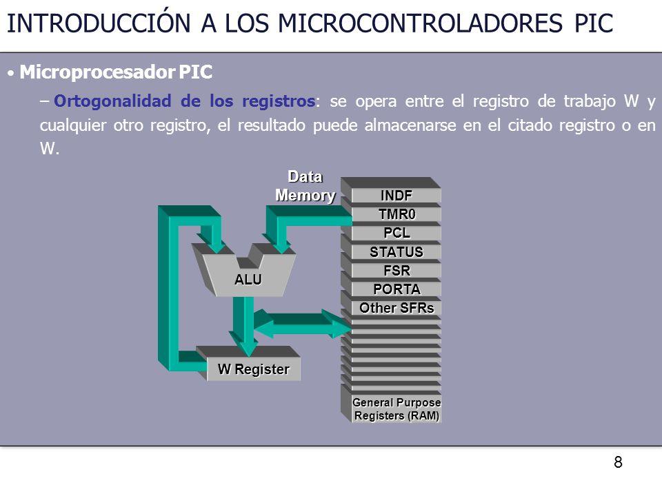 8 INTRODUCCIÓN A LOS MICROCONTROLADORES PIC Microprocesador PIC – Ortogonalidad de los registros: se opera entre el registro de trabajo W y cualquier