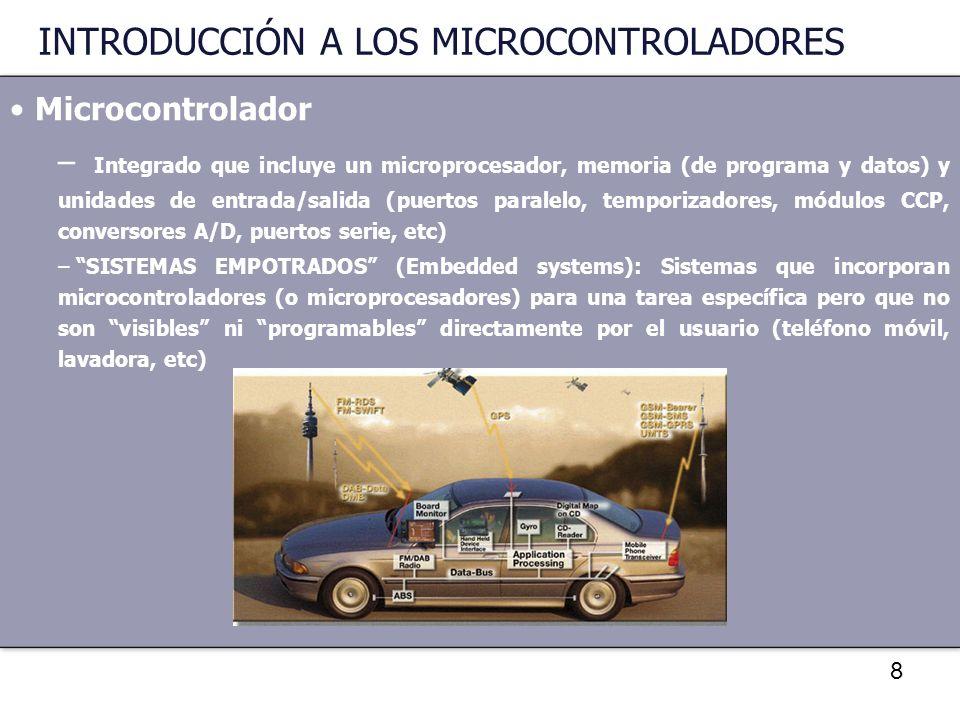 9 INTRODUCCIÓN A LOS MICROCONTROLADORES Microcontrolador – VENTAJAS: Bajo Coste.