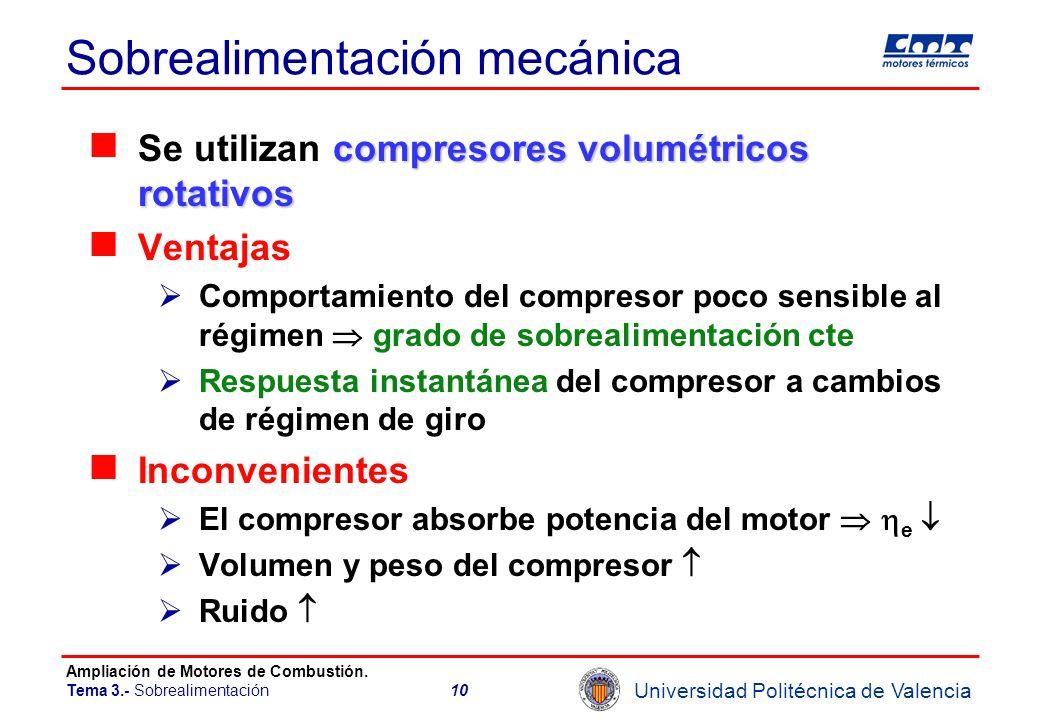 Universidad Politécnica de Valencia Ampliación de Motores de Combustión. Tema 3.- Sobrealimentación10 Sobrealimentación mecánica compresores volumétri