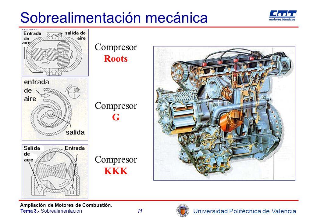 Universidad Politécnica de Valencia Ampliación de Motores de Combustión. Tema 3.- Sobrealimentación11 Sobrealimentación mecánica Compresor G Compresor