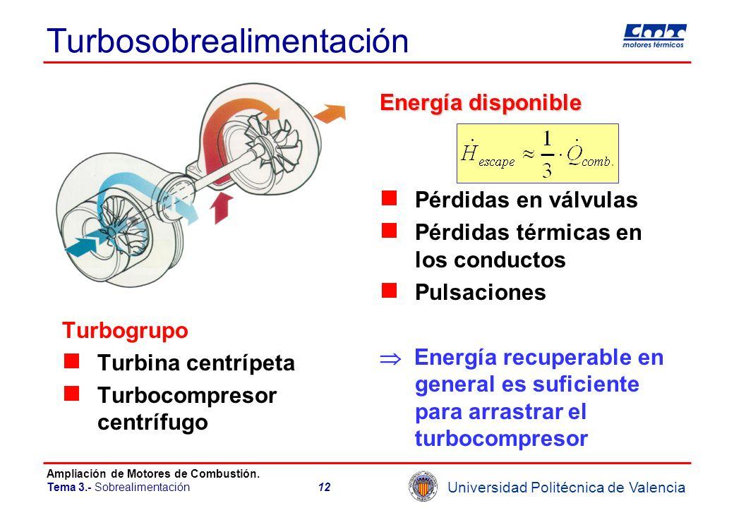 Universidad Politécnica de Valencia Ampliación de Motores de Combustión. Tema 3.- Sobrealimentación12 Turbosobrealimentación Turbogrupo Turbina centrí