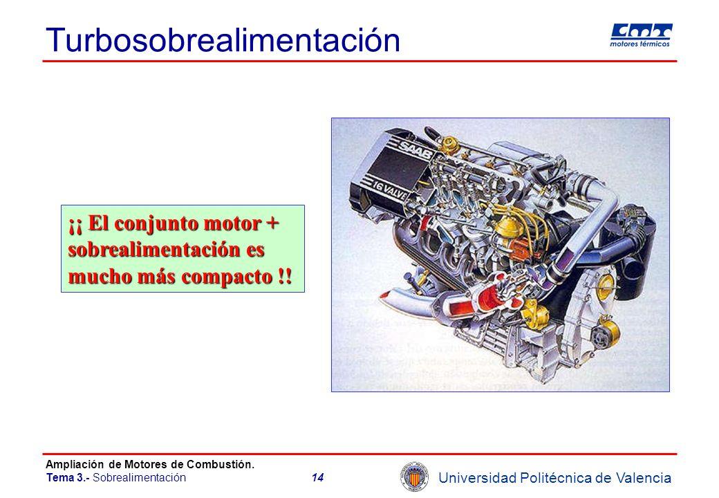 Universidad Politécnica de Valencia Ampliación de Motores de Combustión. Tema 3.- Sobrealimentación14 Turbosobrealimentación ¡¡ El conjunto motor + so