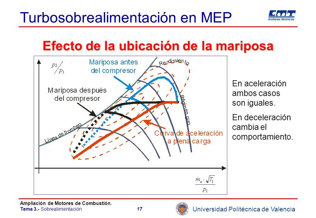 Universidad Politécnica de Valencia Ampliación de Motores de Combustión. Tema 3.- Sobrealimentación17 Turbosobrealimentación en MEP Efecto de la ubica