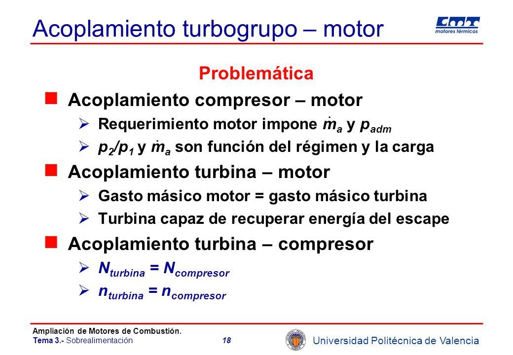 Universidad Politécnica de Valencia Ampliación de Motores de Combustión. Tema 3.- Sobrealimentación18 Acoplamiento turbogrupo – motor Problemática Aco