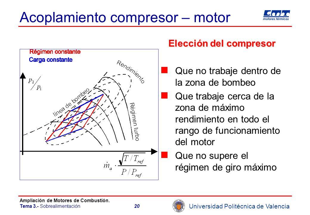 Universidad Politécnica de Valencia Ampliación de Motores de Combustión. Tema 3.- Sobrealimentación20 Acoplamiento compresor – motor Elección del comp