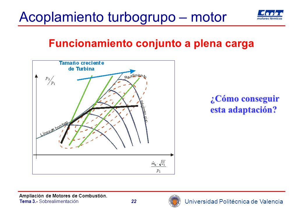 Universidad Politécnica de Valencia Ampliación de Motores de Combustión. Tema 3.- Sobrealimentación22 Acoplamiento turbogrupo – motor Funcionamiento c