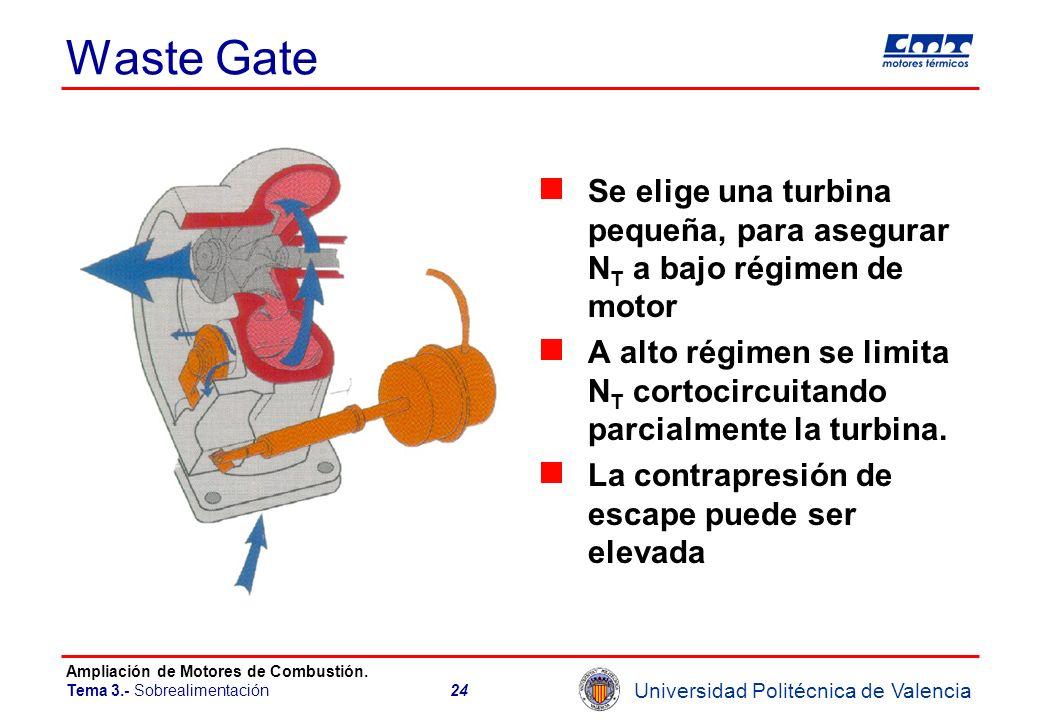 Universidad Politécnica de Valencia Ampliación de Motores de Combustión. Tema 3.- Sobrealimentación24 Waste Gate Se elige una turbina pequeña, para as