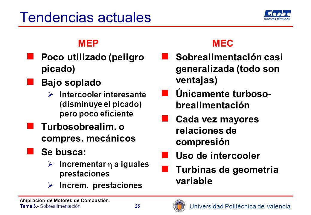 Universidad Politécnica de Valencia Ampliación de Motores de Combustión. Tema 3.- Sobrealimentación26 Tendencias actuales MEP Poco utilizado (peligro