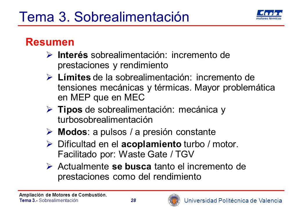 Universidad Politécnica de Valencia Ampliación de Motores de Combustión. Tema 3.- Sobrealimentación28 Tema 3. Sobrealimentación Resumen Interés sobrea