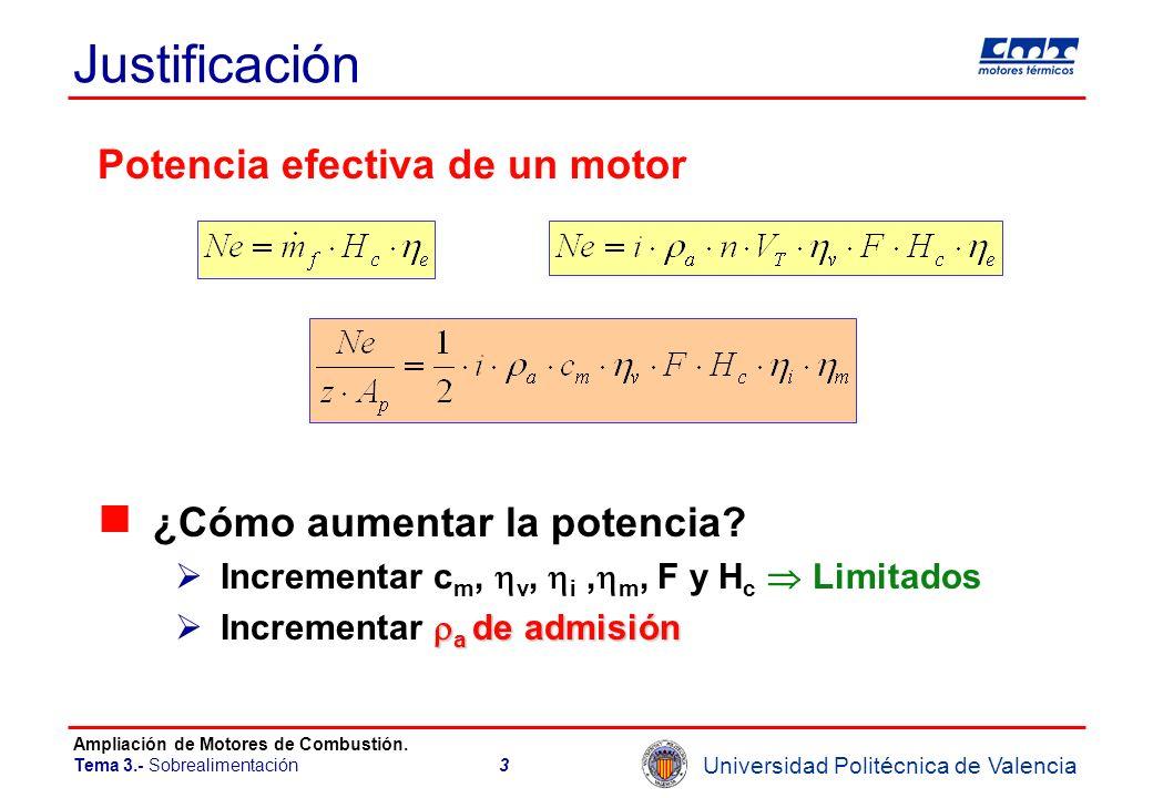 Universidad Politécnica de Valencia Ampliación de Motores de Combustión. Tema 3.- Sobrealimentación3 Justificación Potencia efectiva de un motor ¿Cómo