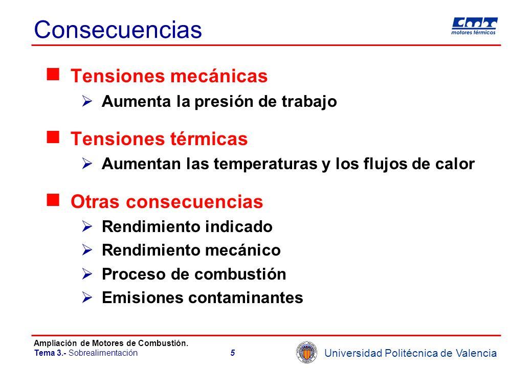 Universidad Politécnica de Valencia Ampliación de Motores de Combustión. Tema 3.- Sobrealimentación5 Consecuencias Tensiones mecánicas Aumenta la pres