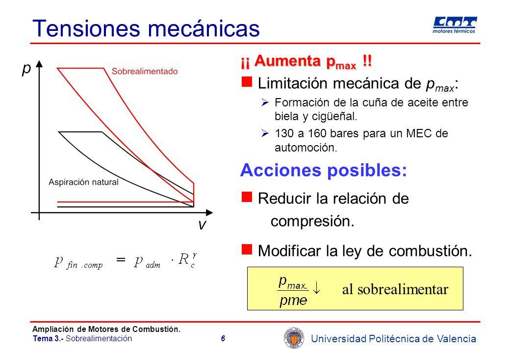 Universidad Politécnica de Valencia Ampliación de Motores de Combustión. Tema 3.- Sobrealimentación6 Tensiones mecánicas ¡¡ Aumenta p max !! Limitació