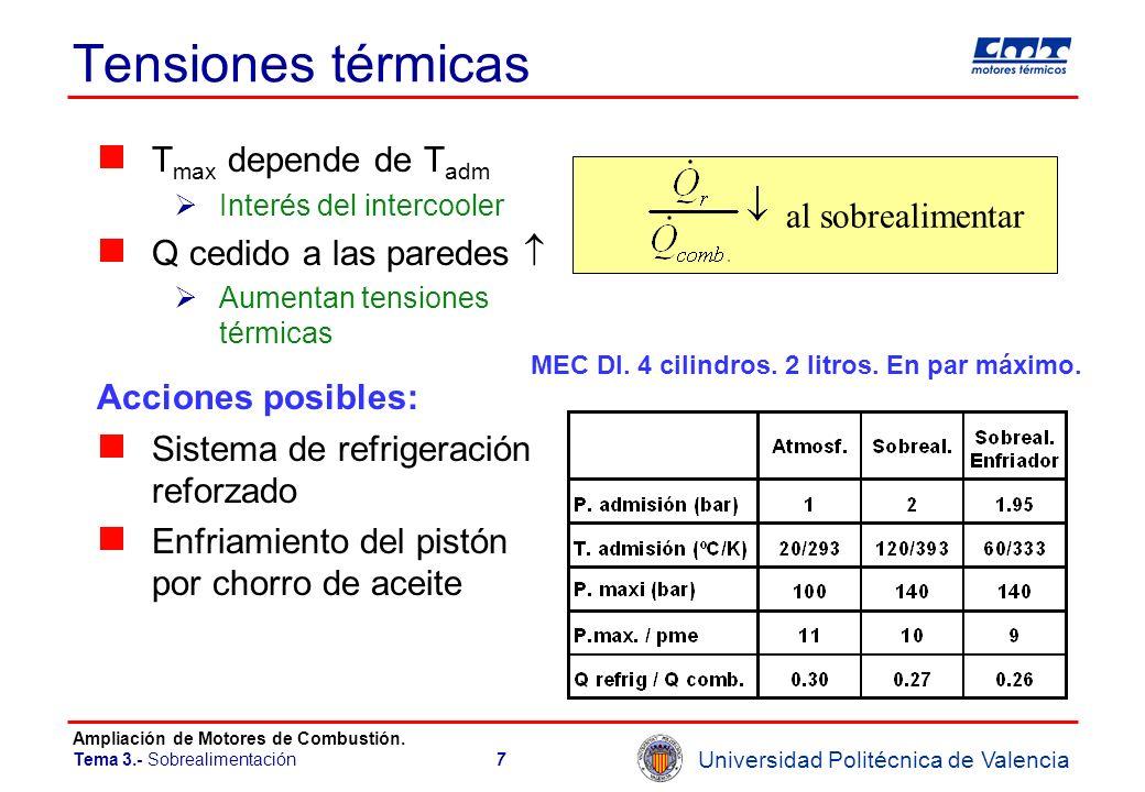 Universidad Politécnica de Valencia Ampliación de Motores de Combustión. Tema 3.- Sobrealimentación7 Tensiones térmicas T max depende de T adm Interés